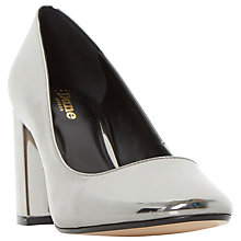 Buy Dune Wide Fit Acapela Block Heeled Court Shoes, Pewter Metallic Online at johnlewis.com
