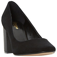 Buy Dune Wide Fit Acapela Block Heeled Court Shoes, Black Suede Online at johnlewis.com