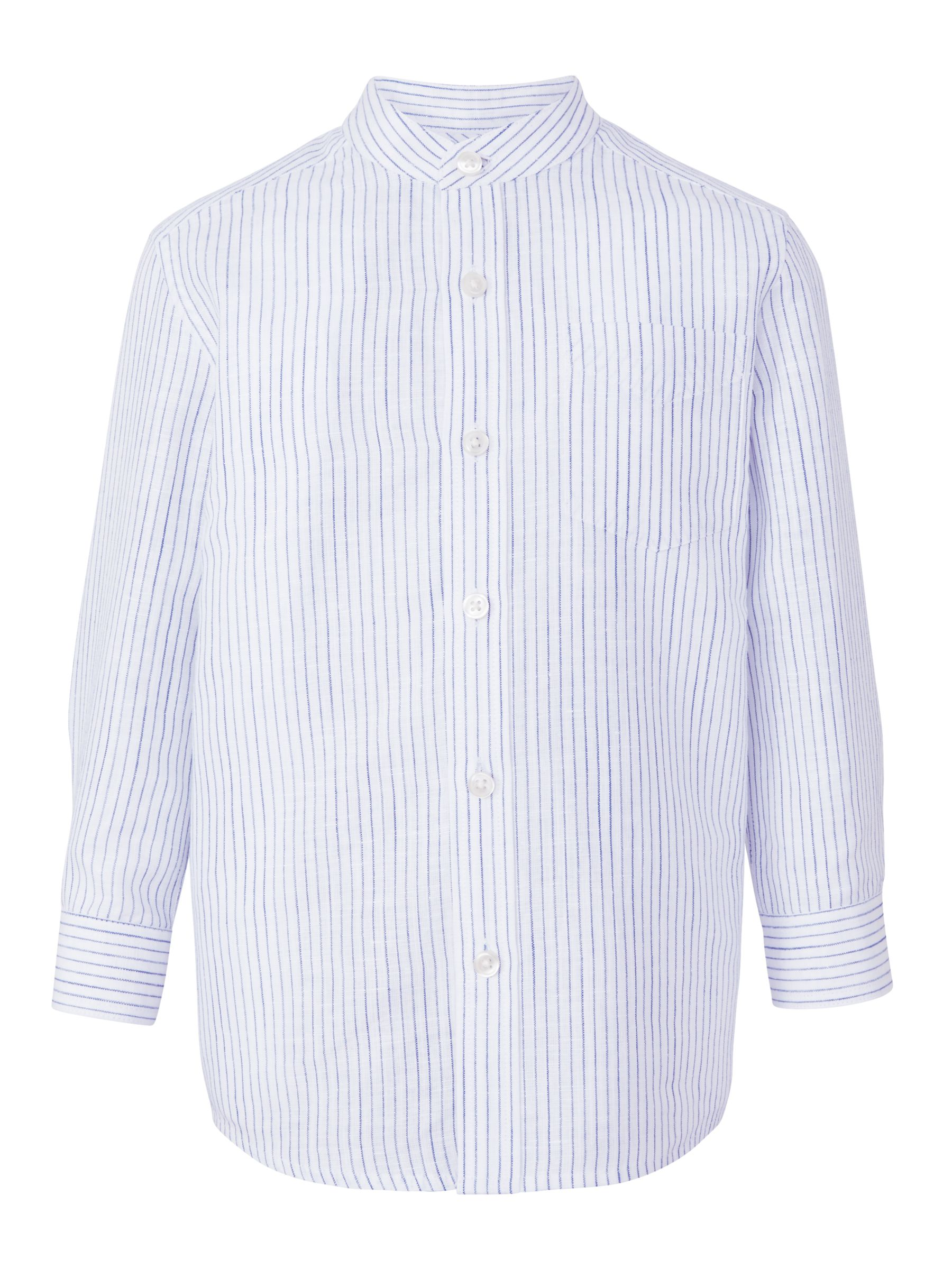 John Lewis Heirloom Collection John Lewis Heirloom Collection Boys' Linen Mix Striped Shirt, Blue/White