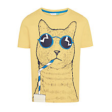 Buy John Lewis Boys' Cool Cat T-Shirt, Yellow Online at johnlewis.com