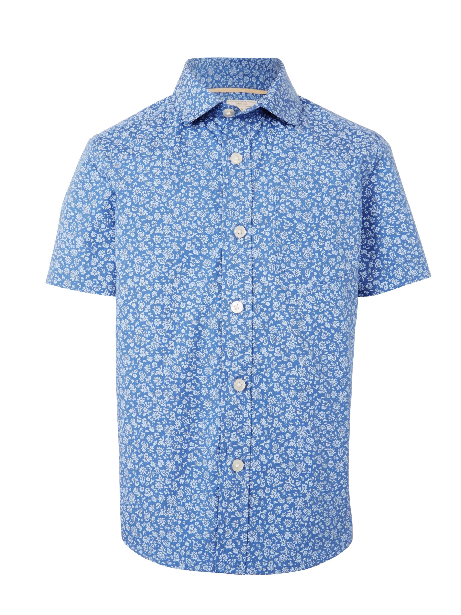 John Lewis Heirloom Collection John Lewis Heirloom Collection Boys' Floral Shirt, Blue/White