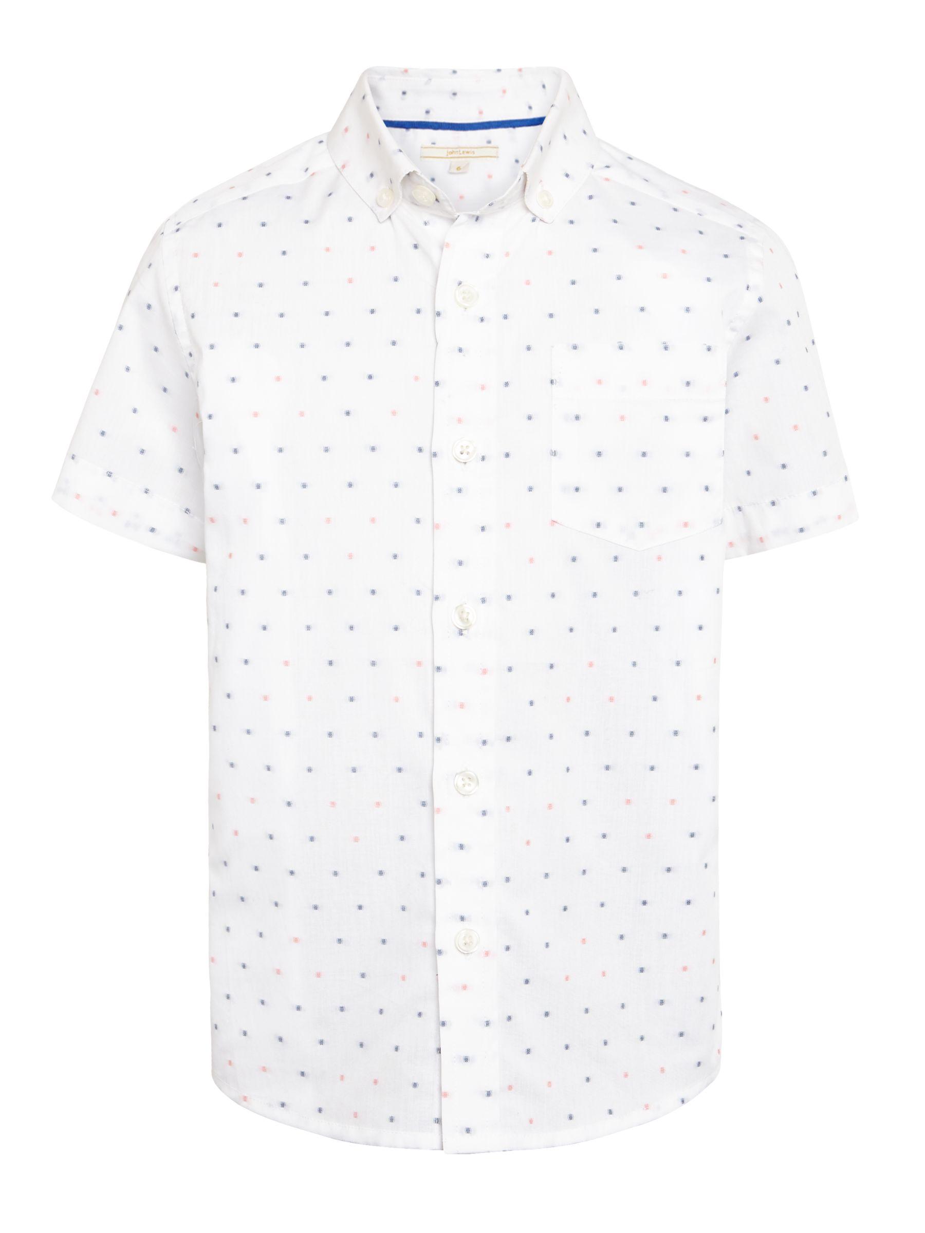John Lewis Heirloom Collection John Lewis Heirloom Collection Boys' Short Sleeve Spot Shirt, White