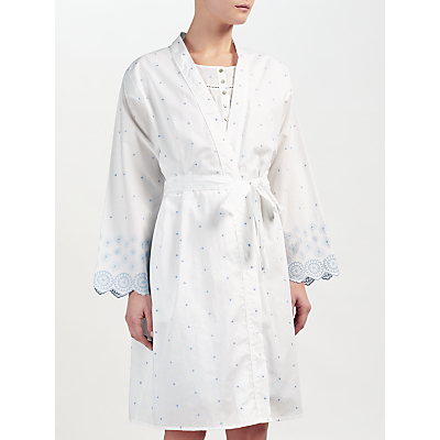 John Lewis Circle Flower Embroidered Dressing Gown, White/Blue