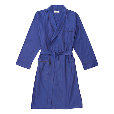 Otis Batterbee Herringbone Cotton Robe, Navy