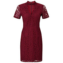 Buy Miss Selfridge Petite Lace Choker Dress, Burgundy Online at johnlewis.com