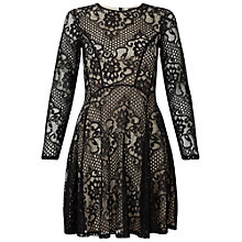 Buy Miss Selfridge Long Sleeve Lace Skater Dress, Black Online at johnlewis.com