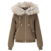 Buy Miss Selfridge Hooded Bomber Jacket, Khaki Online at johnlewis.com