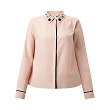 Buy Miss Selfridge Embellished Collar Shirt, Pink Online at johnlewis.com