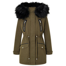 Buy Miss Selfridge Petite Lux Parka Coat, Khaki Online at johnlewis.com