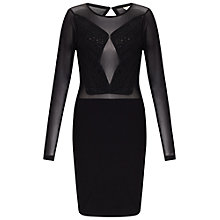 Buy Miss Selfridge Cornelli Long Sleeve Dress, Black Online at johnlewis.com