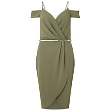 Buy Miss Selfridge Wrap Cold Shoulder Dress, Khaki Online at johnlewis.com