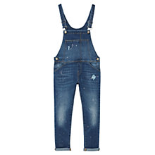Buy Mango Kids Girls' Paint Drops Denim Dungarees, Open Blue Online at johnlewis.com