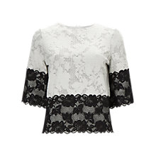 Buy Phase Eight Jacquard Lace Top, Ivory/Black Online at johnlewis.com