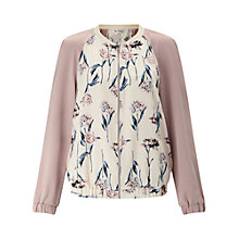 Buy Miss Selfridge Floral Bomber Jacket, Nude Online at johnlewis.com
