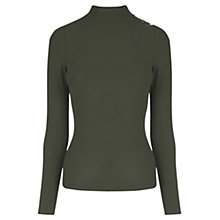 Buy Oasis Rib Button Polo Neck Jumper Online at johnlewis.com