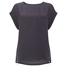Buy Phase Eight Maddy Double Zip Blouse, Charcoal Online at johnlewis.com