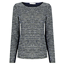 Buy Oasis Stripe Tweed Jumper, Navy Online at johnlewis.com