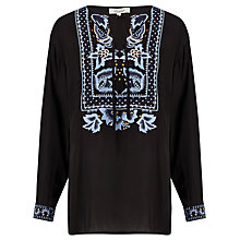 Buy Somerset by Alice Temperley Embroidered Placket Tunic, Black Online at johnlewis.com