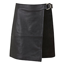 Buy Mint Velvet Leather & Suede Wrap Skirt, Black Online at johnlewis.com