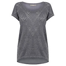 Buy Oasis Sparkle Knit T-Shirt, Mid Grey Online at johnlewis.com