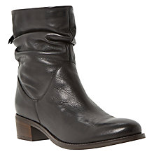 Buy Dune Pager Block Heeled Ankle Boots, Black Leather Online at johnlewis.com