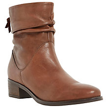 Buy Dune Pager Block Heeled Ankle Boots, Tan Leather Online at johnlewis.com