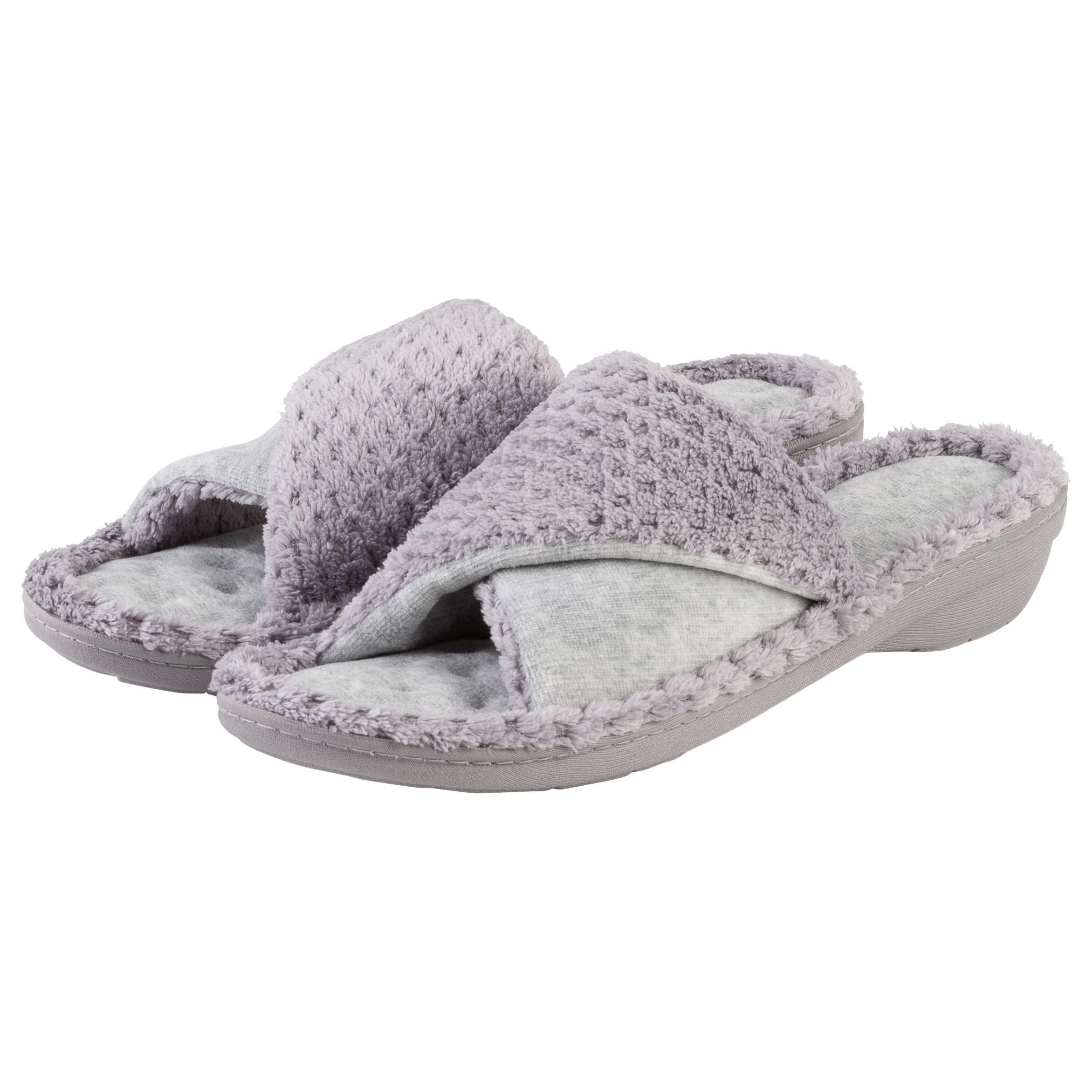 Totes Totes Popcorn Turnover Open Toe Slippers, Grey