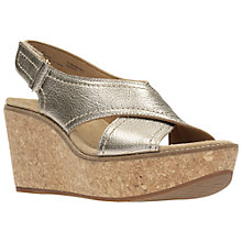 Buy Clarks Aisley Tulip Wedge Heeled Sandals, Gold Online at johnlewis.com