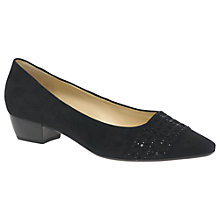 Buy Gabor Stargate Block Heeled Court Shoes, Black Online at johnlewis.com