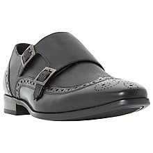 Buy Dune Relic Saffiano Monk Shoes, Black Online at johnlewis.com