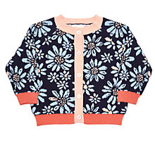 Buy Margherita Kids Baby Flower Jacquard Cardigan, Navy Online at johnlewis.com