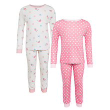 Buy John Lewis Children's Vintage Floral Pyjamas, Pack of 2, Pink/White Online at johnlewis.com
