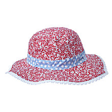 Buy John Lewis Children's Reversible Floral and Spot Sun Hat, Red/Blue Online at johnlewis.com
