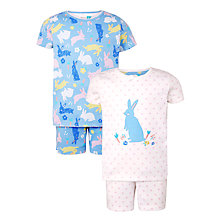 Buy John Lewis Children's Easter Bunny Pyjamas, Pack of 2, Blue Online at johnlewis.com