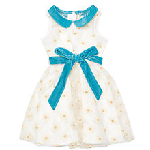 Buy Margherita Kids Girl's Daisy Embroidered Dress, Cream/Teal Online at johnlewis.com