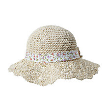 Buy John Lewis Children's Crochet Hat with Floral Bow, Natural Online at johnlewis.com
