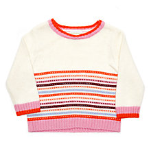 Buy Margherita Kids Baby Contrast Tipping Jumper, Cream Online at johnlewis.com
