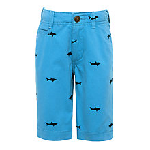 Buy John Lewis Boys' Shark Embroidery Chino Shorts, Blue Online at johnlewis.com