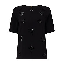 Buy Phase Eight Amalia Embellished Shell Top, Black Online at johnlewis.com