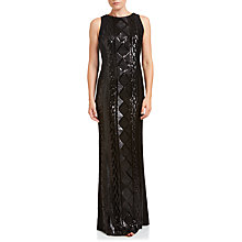 Buy Adrianna Papell Sleeveless Cable Sequin Cocktail Gown, Black Online at johnlewis.com