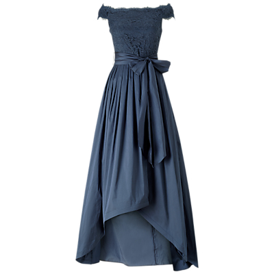 Adrianna Papell Off Shoulder Lace And Taffeta Gown, Navy