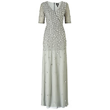 Buy Adrianna Papell Short Sleeve Wrap Front Beaded Gown, Blue Mist Online at johnlewis.com