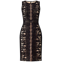 Buy Adrianna Papell Embroidered Directional Stripe Lace Dress, Black/Bisque Online at johnlewis.com