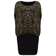 Buy Phase Eight Jane Sequin Double Layer Dress, Black/Gold Online at johnlewis.com