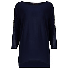 Buy Phase Eight Donisha Beaded Shoulder Knitted Jumper, Navy Online at johnlewis.com