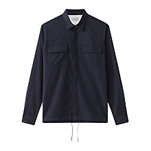 Buy Jigsaw Cotton Fly Front Overshirt, Navy Online at johnlewis.com