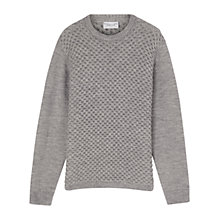 Buy Jigsaw Alpaca Blend Lattice Crew Neck, Silver Online at johnlewis.com