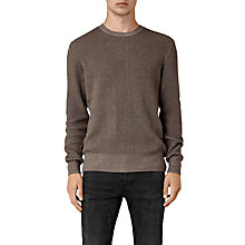 Buy AllSaints Serle Crew Jumper, Washed Khaki Online at johnlewis.com