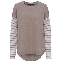 Buy French Connection Stripe Knits Drop Shoulder Jumper, Dark Oatmeal/Winter White Online at johnlewis.com