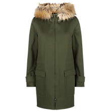 Buy Jaeger Faux Fur Trim Parka Jacket, Green Online at johnlewis.com